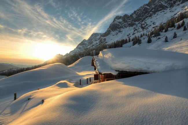 Захід сонця взимку
