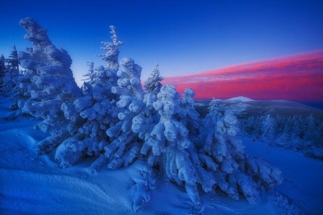 Зимовий багряний захід сонця