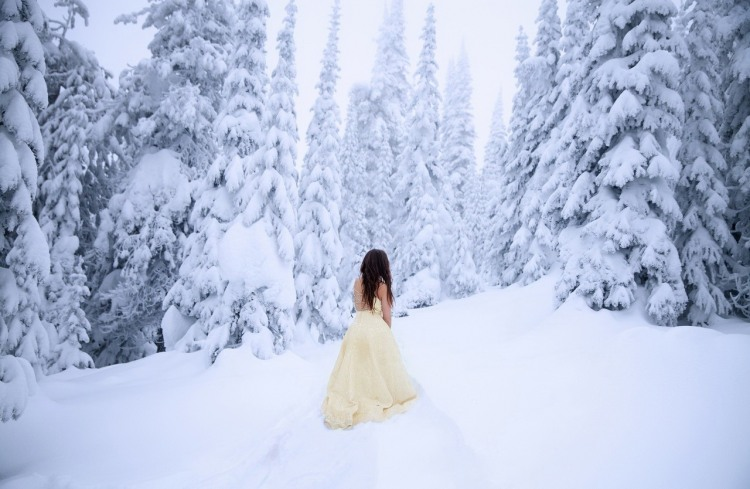 Дівчина в зимовому лісі