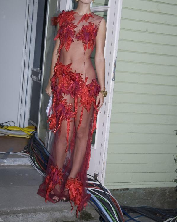 Прозора червона сукня