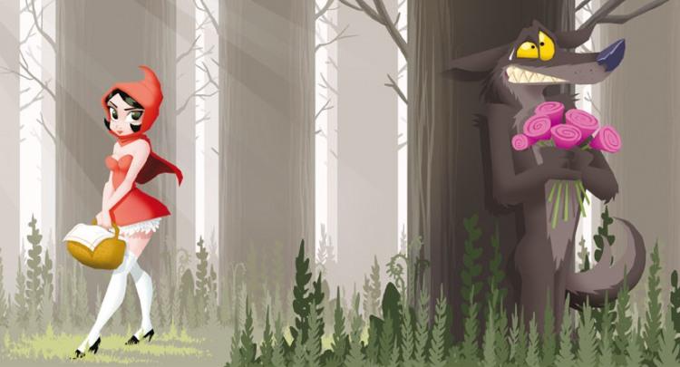 Сірий вовк чатує на червону шапочку