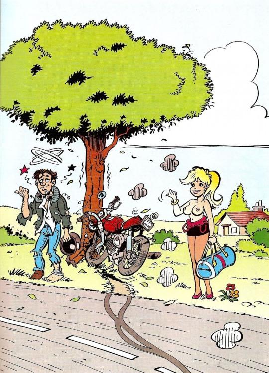 Дівчина зупинила мотоцикл