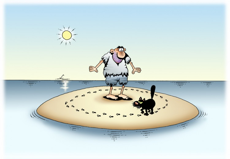 Коли ти опинився на безлюдному острові з чорним котом